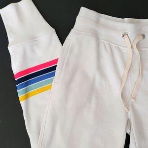 Gap white joggers rainbow stripe on leg Size Small